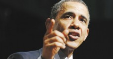 U.S. President Barack Obama speaks during a visit to Bladensburg High School in Bladensburg